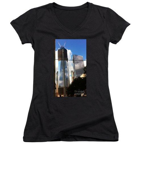 World Trade Center Twin Tower Women's V-Neck T-Shirt (Junior Cut) by Susan Garren