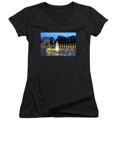 World War II Memorial Women's V-Neck T-Shirt (Junior Cut) by Allen Beatty