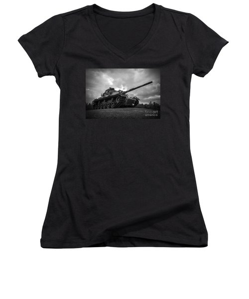 World War II Tank Black And White Women's V-Neck T-Shirt