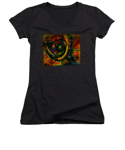 Women's V-Neck T-Shirt (Junior Cut) featuring the painting Worship In Movement by Leanne Seymour