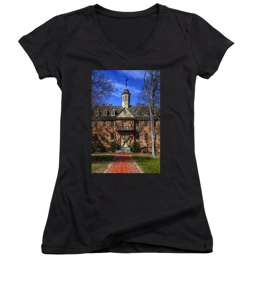 Wren Building Main Entrance Women's V-Neck T-Shirt