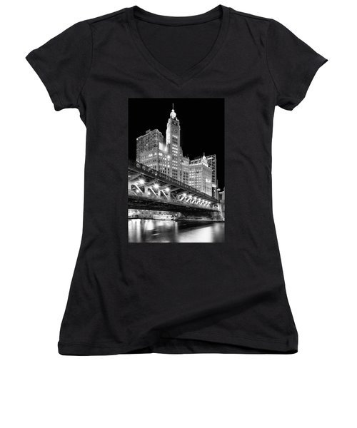 Wrigley Building At Night In Black And White Women's V-Neck