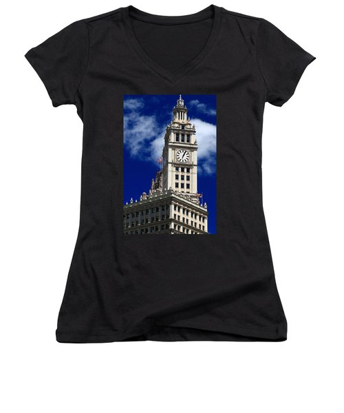 Wrigley Building Clock Tower Women's V-Neck