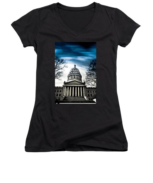 Wv State Capitol Building Women's V-Neck T-Shirt (Junior Cut) by Shane Holsclaw