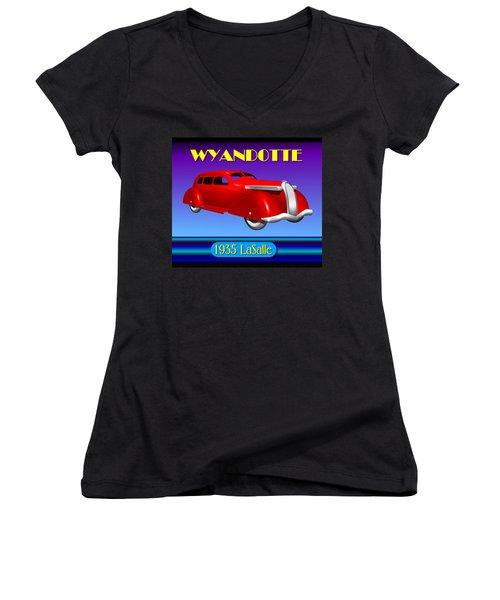 Women's V-Neck T-Shirt (Junior Cut) featuring the digital art Wyandotte 1935 Lasalle by Stuart Swartz
