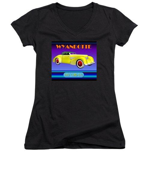 Women's V-Neck T-Shirt (Junior Cut) featuring the digital art Wyandotte 1937 Cord 812 by Stuart Swartz