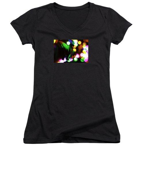 Xmas Lite Women's V-Neck T-Shirt (Junior Cut) by Michael Nowotny