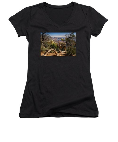 Women's V-Neck T-Shirt (Junior Cut) featuring the photograph Yaki Point 4 The Grand Canyon by Bob and Nadine Johnston