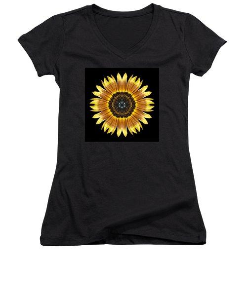 Yellow And Brown Sunflower Flower Mandala Women's V-Neck