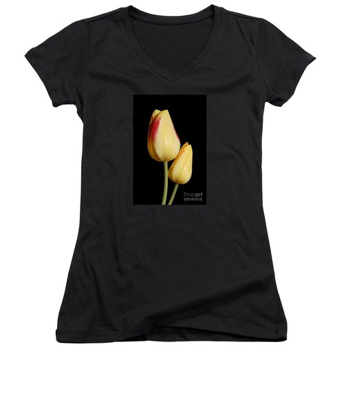 Yellow And Red Tulips  Women's V-Neck T-Shirt