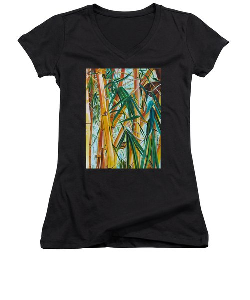 Women's V-Neck T-Shirt (Junior Cut) featuring the painting Yellow Bamboo by Marionette Taboniar