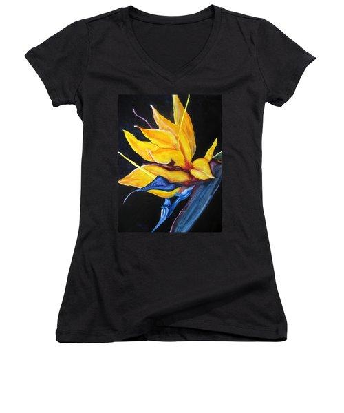 Yellow Bird Women's V-Neck T-Shirt (Junior Cut) by Lil Taylor