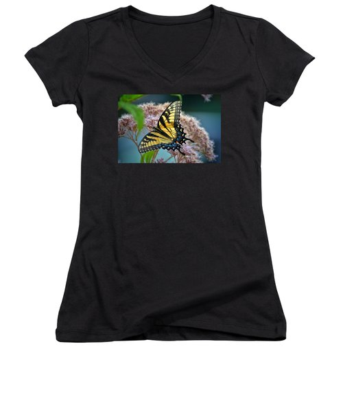 Yellow Butterfly Women's V-Neck (Athletic Fit)