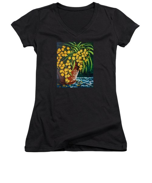 Women's V-Neck T-Shirt (Junior Cut) featuring the painting Yellow Cascade by Katherine Young-Beck