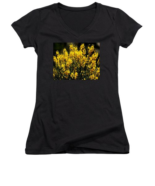 Yellow Cluster Flowers Women's V-Neck T-Shirt (Junior Cut) by Matt Harang