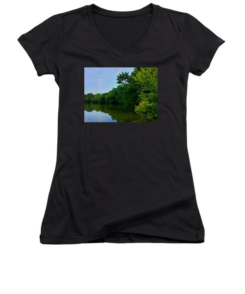Women's V-Neck T-Shirt (Junior Cut) featuring the photograph Yellow Creek by Chris Tarpening