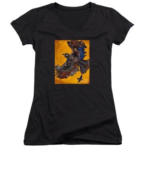 Yellow Crow Women's V-Neck T-Shirt (Junior Cut) by Emily McLaughlin