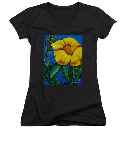 Yellow Elder - Flower Botanical Women's V-Neck (Athletic Fit)