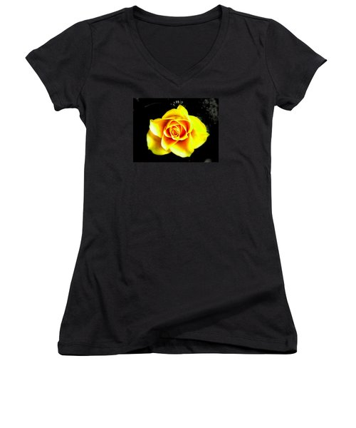 Yellow Flower On A Dark Background Women's V-Neck (Athletic Fit)