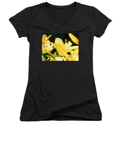 Yellow Lilies Women's V-Neck (Athletic Fit)