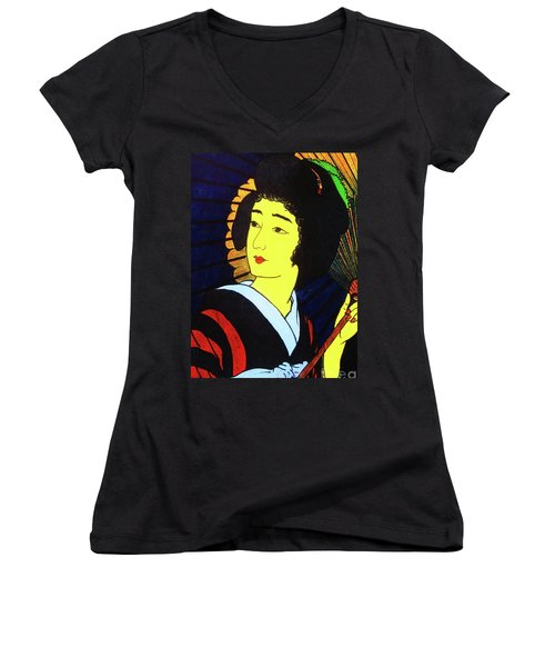 Yellow Moon Geisha Women's V-Neck T-Shirt (Junior Cut) by Roberto Prusso