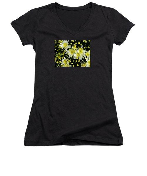 Yellow Mums Women's V-Neck T-Shirt (Junior Cut) by Lyric Lucas