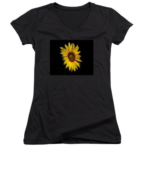 Yellow On Black Women's V-Neck T-Shirt