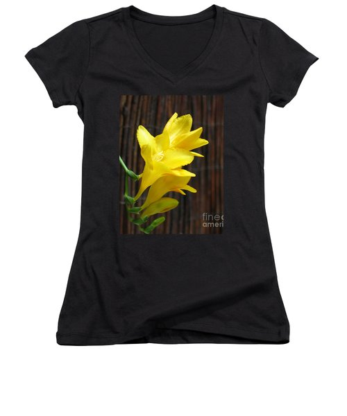 Yellow Petals Women's V-Neck (Athletic Fit)