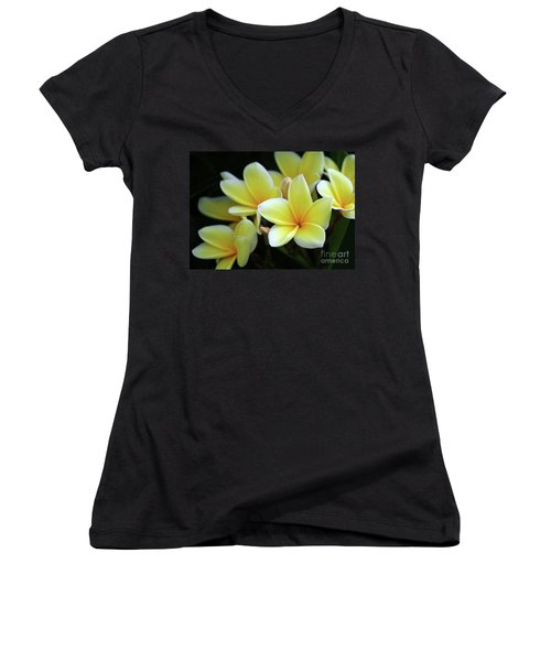 Yellow Plumeria Cascade Women's V-Neck T-Shirt