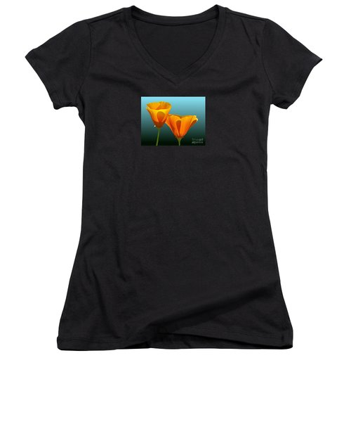 Yellow Poppies Women's V-Neck (Athletic Fit)