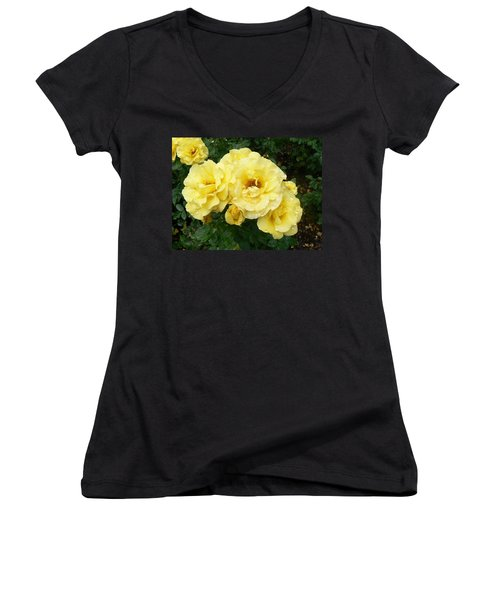 Women's V-Neck T-Shirt (Junior Cut) featuring the photograph Yellow Rose Of Pa by Michael Porchik