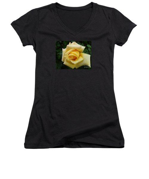 Yellow Rose Say Goodbye Women's V-Neck T-Shirt (Junior Cut) by Lingfai Leung