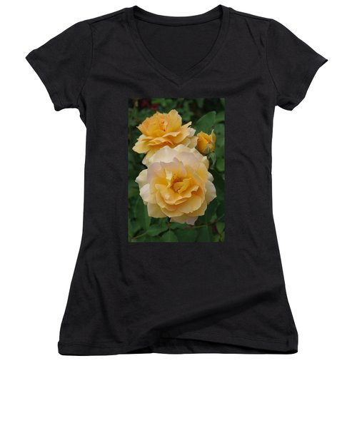 Women's V-Neck T-Shirt (Junior Cut) featuring the photograph Yellow Roses by Marilyn Wilson