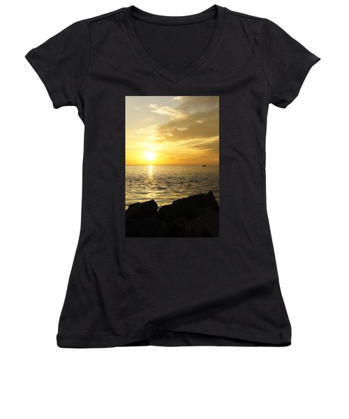 Women's V-Neck T-Shirt (Junior Cut) featuring the photograph Yellow Sky by Laurie Perry