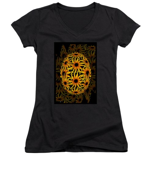 Women's V-Neck featuring the photograph Yellow Sunflower Seed by Barbara St Jean