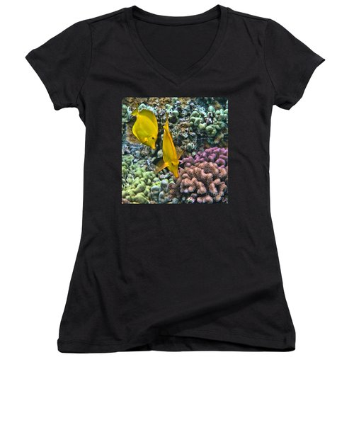 Women's V-Neck T-Shirt (Junior Cut) featuring the photograph Yellow Tang Pair by Peggy Hughes