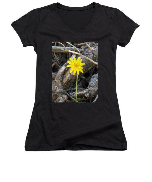 Yellow Wildflower Women's V-Neck T-Shirt (Junior Cut) by Laurel Powell