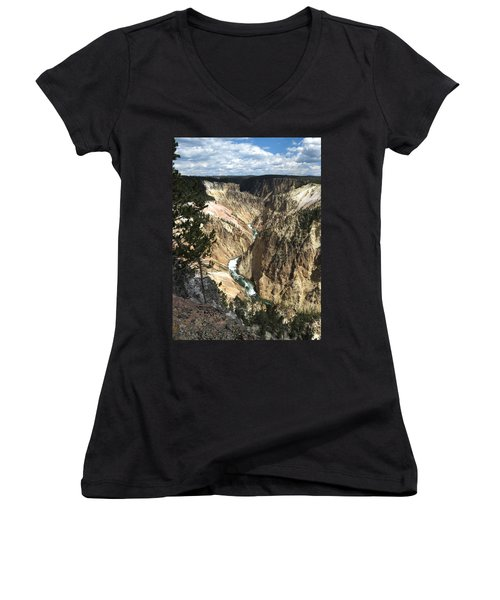 Women's V-Neck T-Shirt (Junior Cut) featuring the photograph Yellowstone Canyon by Laurel Powell