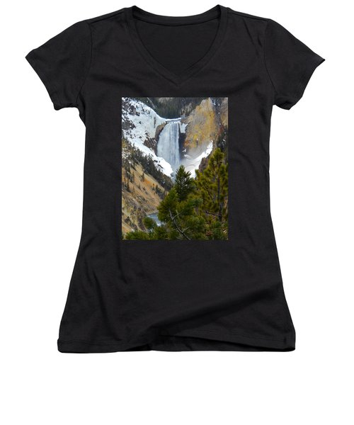 Women's V-Neck T-Shirt (Junior Cut) featuring the photograph Yellowstone Lower Falls In Spring by Michele Myers