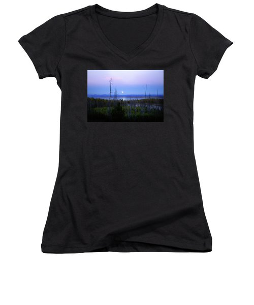 Women's V-Neck T-Shirt (Junior Cut) featuring the photograph Yellowstone Moon by Ann Lauwers