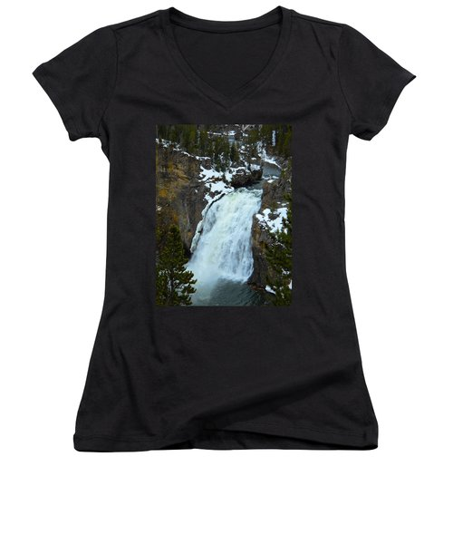 Women's V-Neck T-Shirt (Junior Cut) featuring the photograph Yellowstone Upper Falls In Spring by Michele Myers