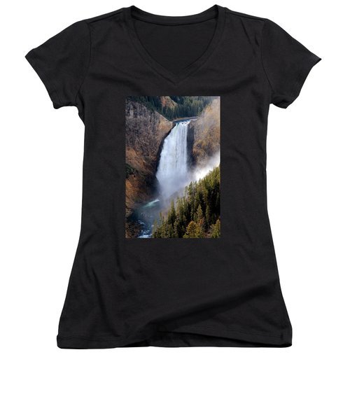 Women's V-Neck T-Shirt (Junior Cut) featuring the photograph Lower Yellowstone Falls by Athena Mckinzie