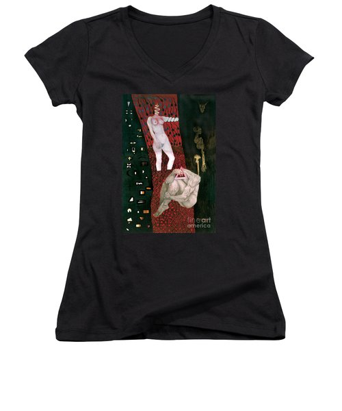 Women's V-Neck T-Shirt (Junior Cut) featuring the painting Yin Yang Birth Death by Fei A