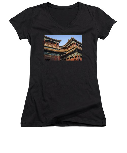 Yonghe Temple Aka Lama Temple In China Women's V-Neck T-Shirt