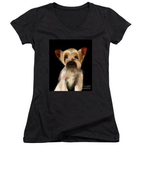 Yorkshire Terrier Pup Women's V-Neck (Athletic Fit)