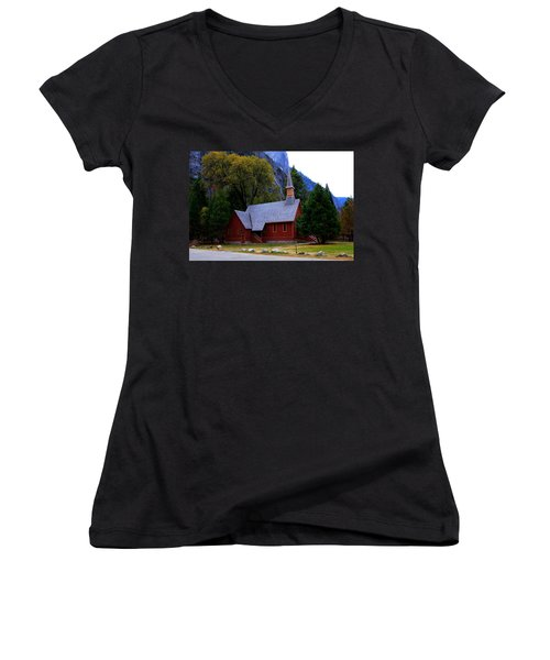 Yosemite Fall  Chapel  Women's V-Neck T-Shirt (Junior Cut) by Duncan Selby