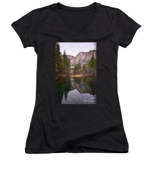 Yosemite Falls Reflection Women's V-Neck (Athletic Fit)