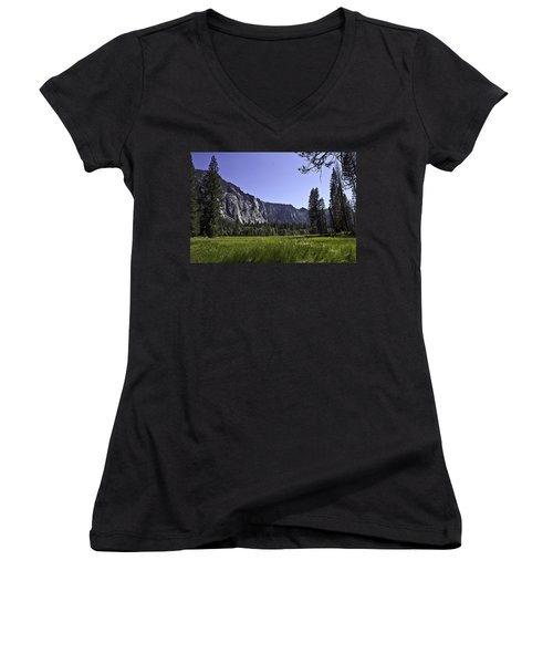 Yosemite Meadow Women's V-Neck T-Shirt (Junior Cut) by Brian Williamson