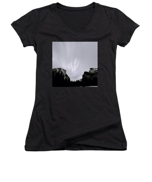 Yosemite National Park Women's V-Neck T-Shirt (Junior Cut) by Shaun Higson