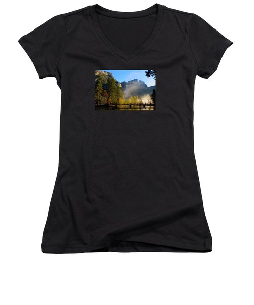 Women's V-Neck T-Shirt (Junior Cut) featuring the photograph Yosemite River Mist by Duncan Selby
